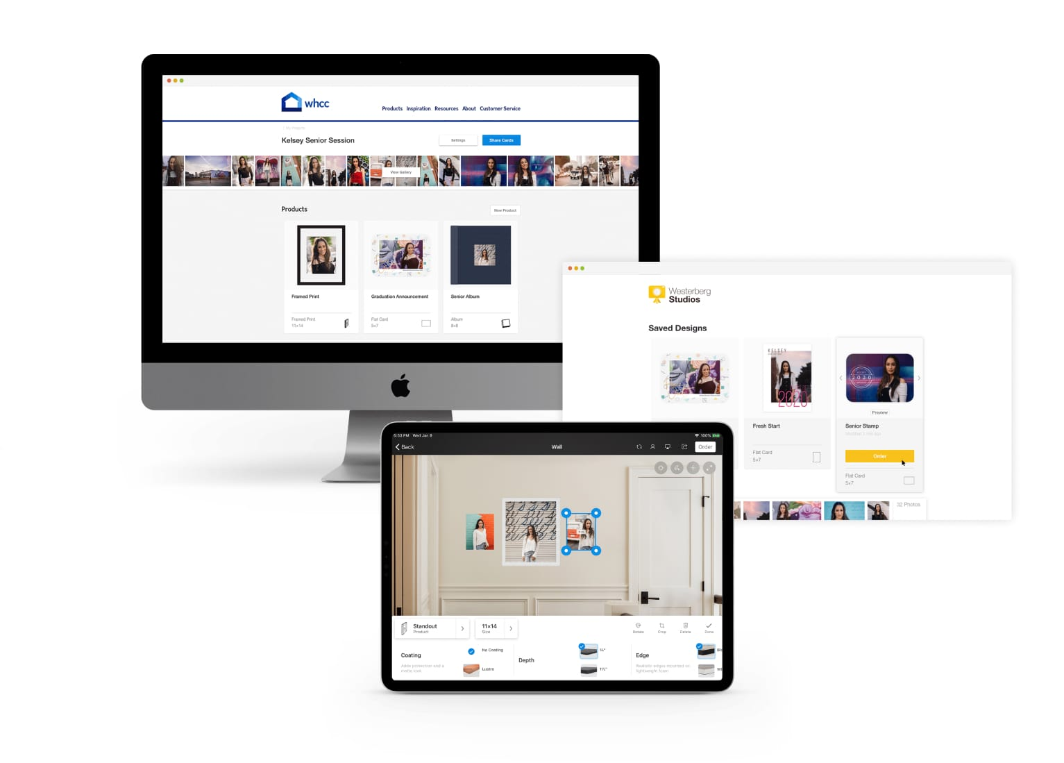Mockup of Studio by WHCC in a desktop screen, browser screen, and iPad screen
