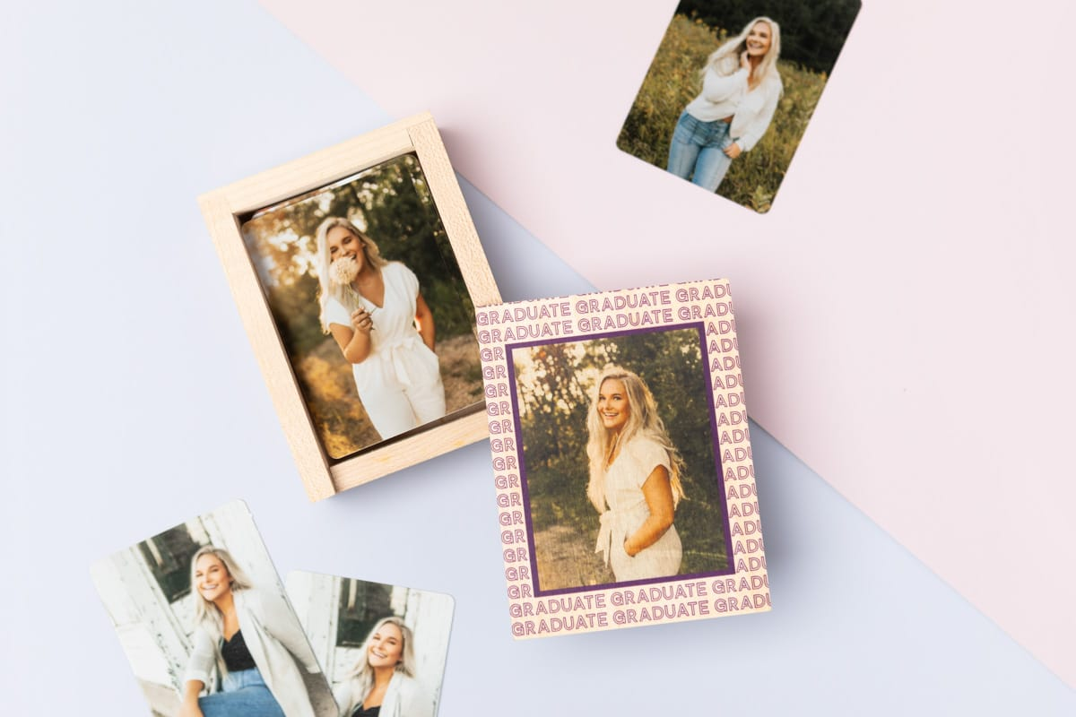 Wood Wallet Box with photos inside of senior graduate girl.