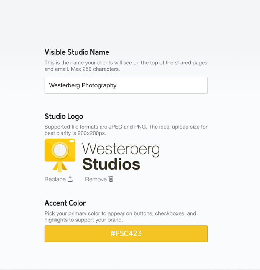 Screenshot showing branded card shop setup in Studio.