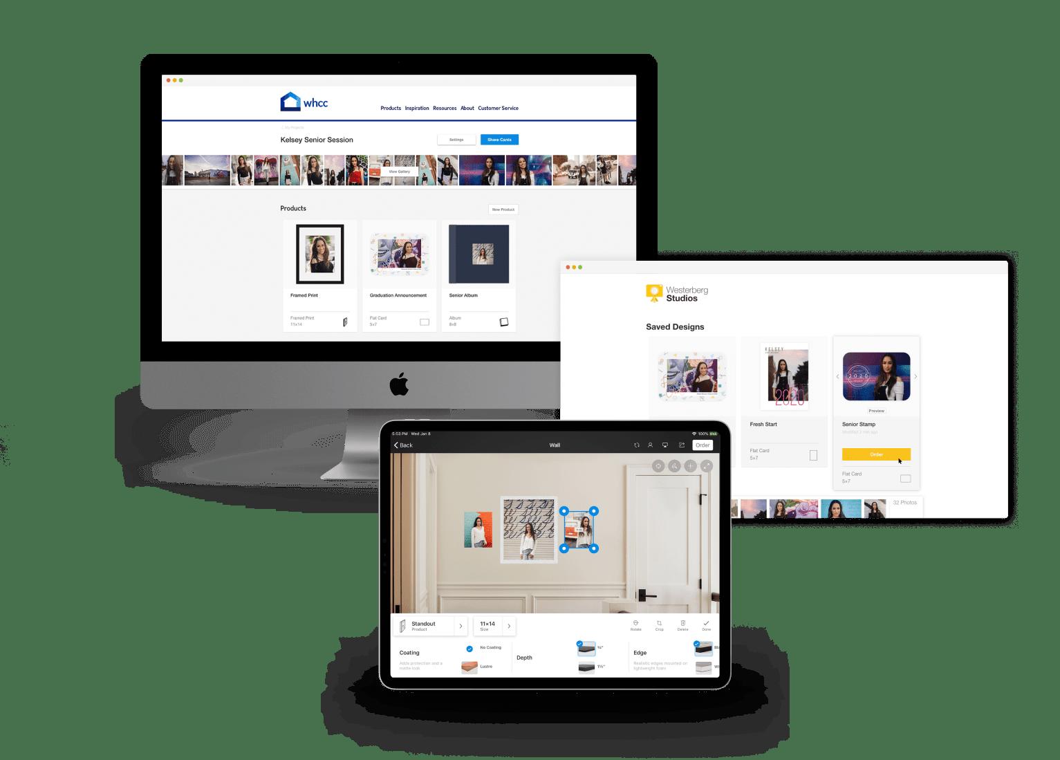 Mockup of Studio App on Desktop computer, browser screen, and iPad.