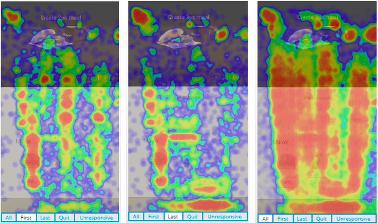 Diving straight in to view sessions of users who correspond to a certain part of a heatmap.