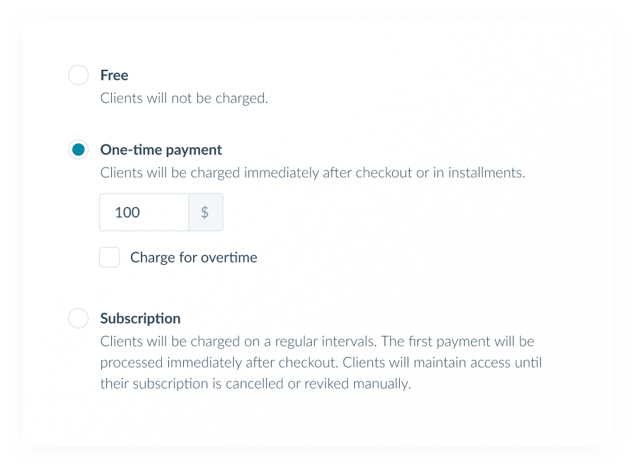 Set up flexible billing Charge one-time or subscriptions fees, and receive payments automatically.
