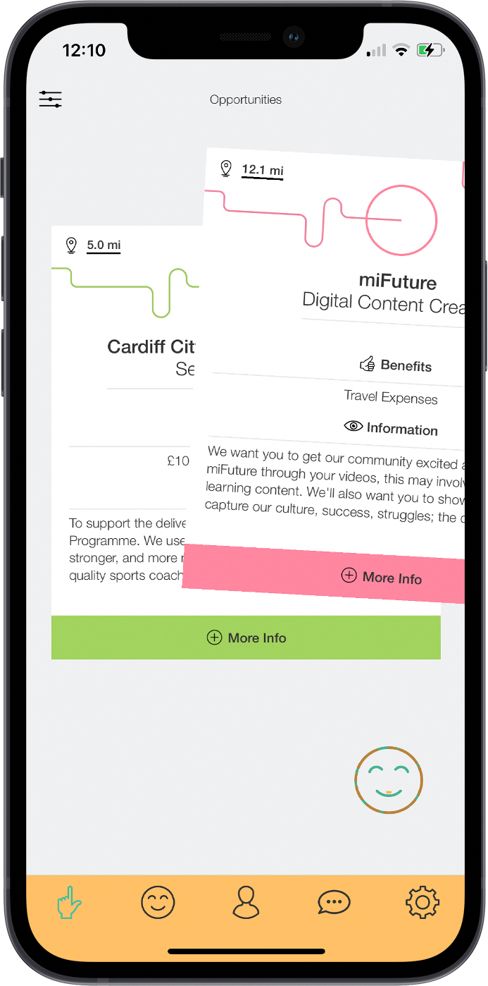 The job matching section of the miFuture app.
