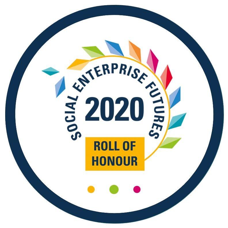 Logo for the Social Enterprise Futures roll of honour 2020.
