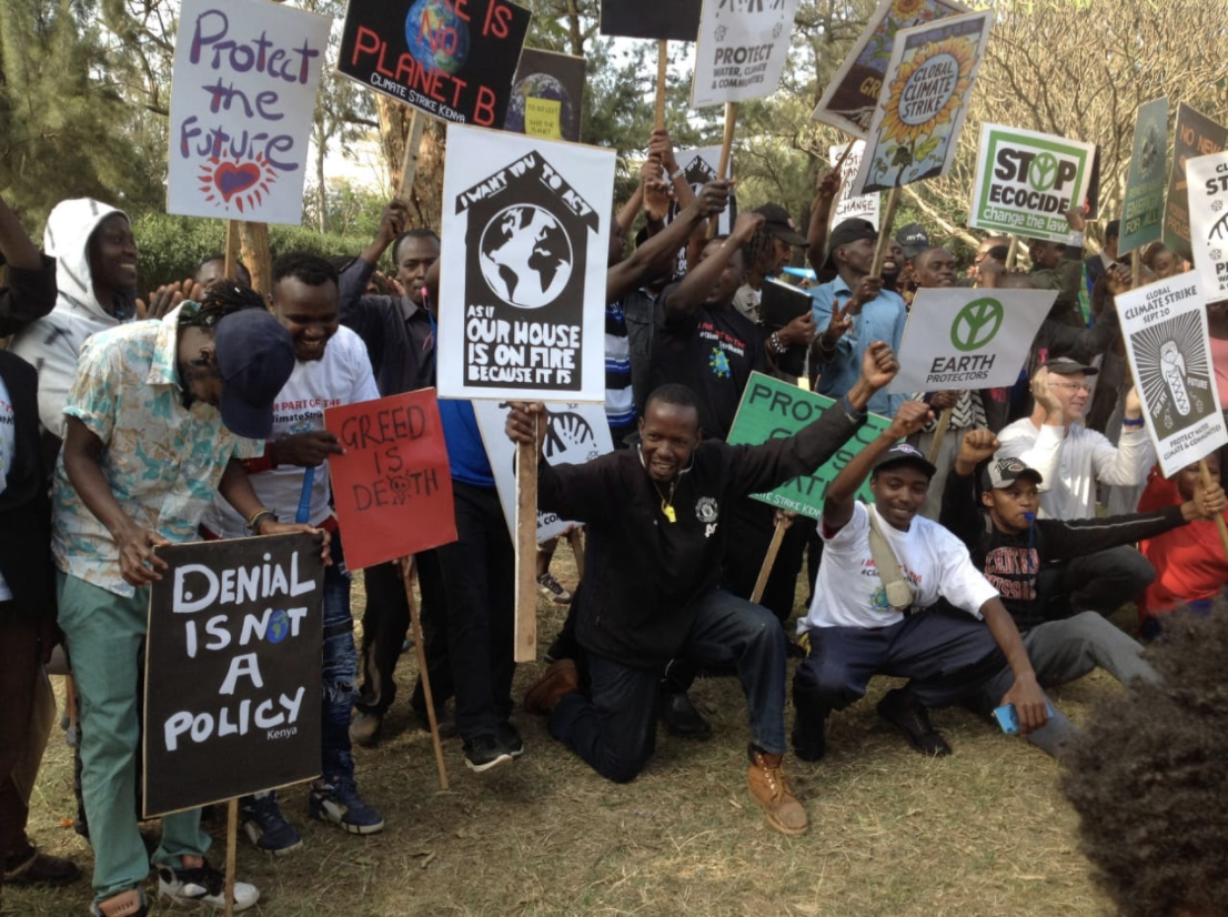 Members of the Kenyan Youth Biodiversity Network taking to the streets to demand for environmental justice.