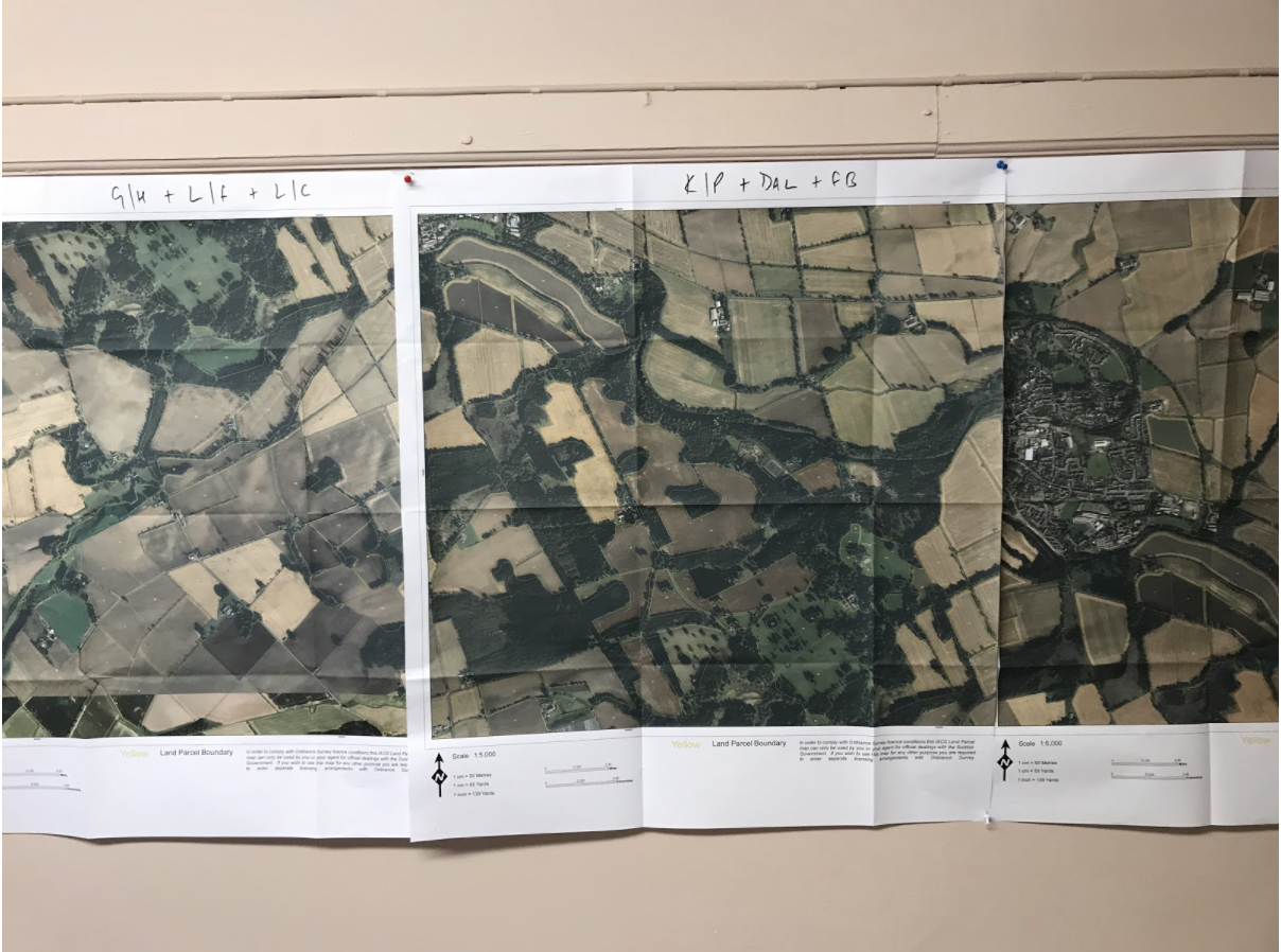The parcel boundaries of a mixed crop and livestock farm in Scotland is displayed in the office of the estate manager.