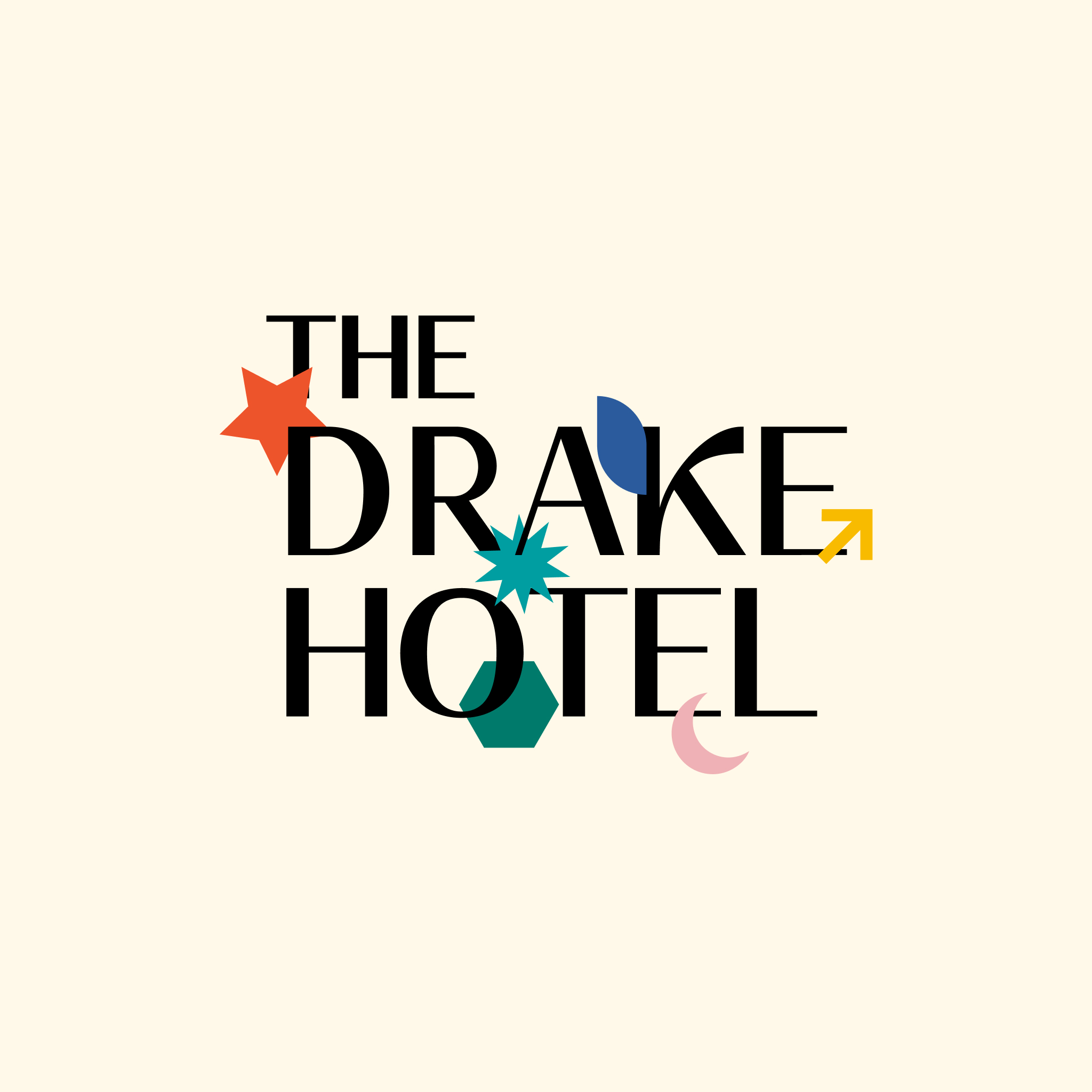 After extensive research of the Drake Hotel, Their strong brand presence did not match the visual identity, therefore my goal was to establish a fluid and distinguishable brand identity to match its constructed culture. Throughout my logo iterations, using a modular logo among different shapes allowed for distinctive uses. In addition, each activity of the hotel was able to be represented through the shape variations.