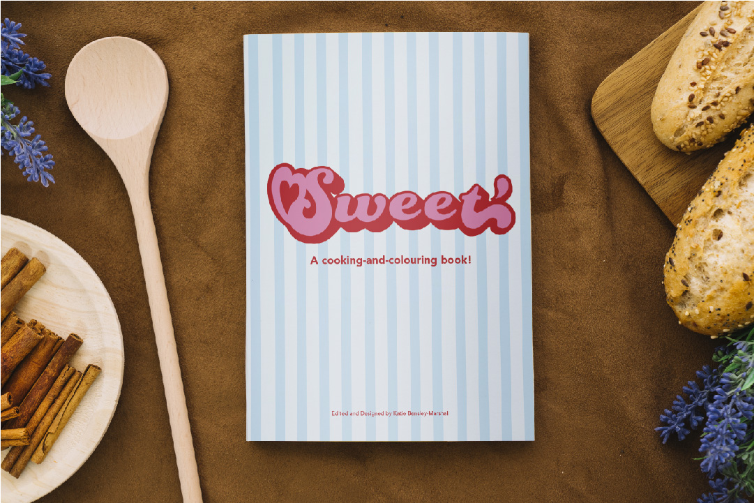 Sweet is a cross between a dessert cookbook and a colouring book. Each recipe has a full-page black and white line drawing of the dessert that is being made. The idea behind this is that the user can colour in the picture while waiting for their dessert to bake or while they are enjoying their sweet treat. Sweet is intended for both adults and children, and can be especially helpful for keeping children preoccupied during the more boring or dangerous parts of the process.
