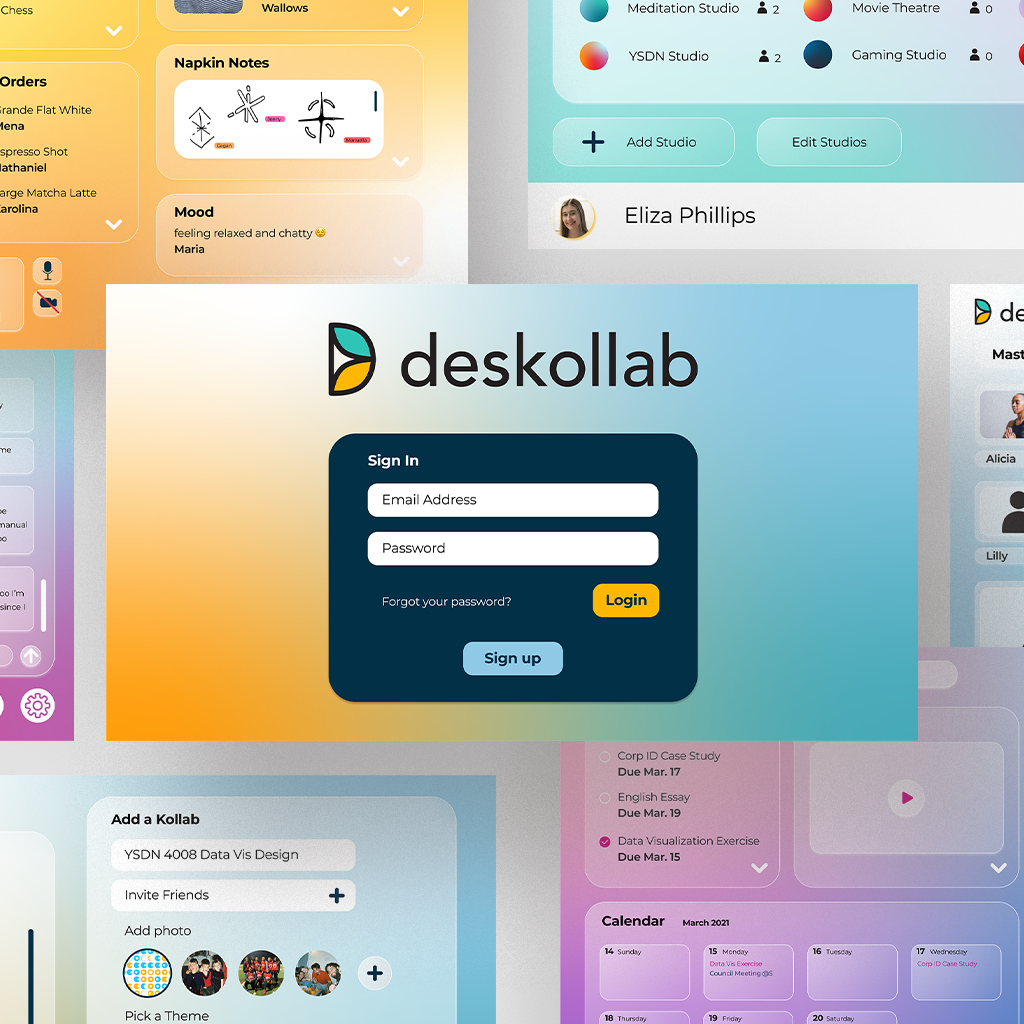 Deskollab allows users to work independently in their own personal studios or collaboratively and create Kollabs which are different groups or teams of people. Kollabs can be anything from a team at work, a group of friends, an online class, and more. Within each Kollab there are the shared studios which can be made from a provided template or completely customized and labelled for each Kollab's unique needs. These studios can be customized while they are in use to add or remove widgets and expand or minimize different widget windows. These studios are constantly evolving and changing to the users' and Kollab's desires.