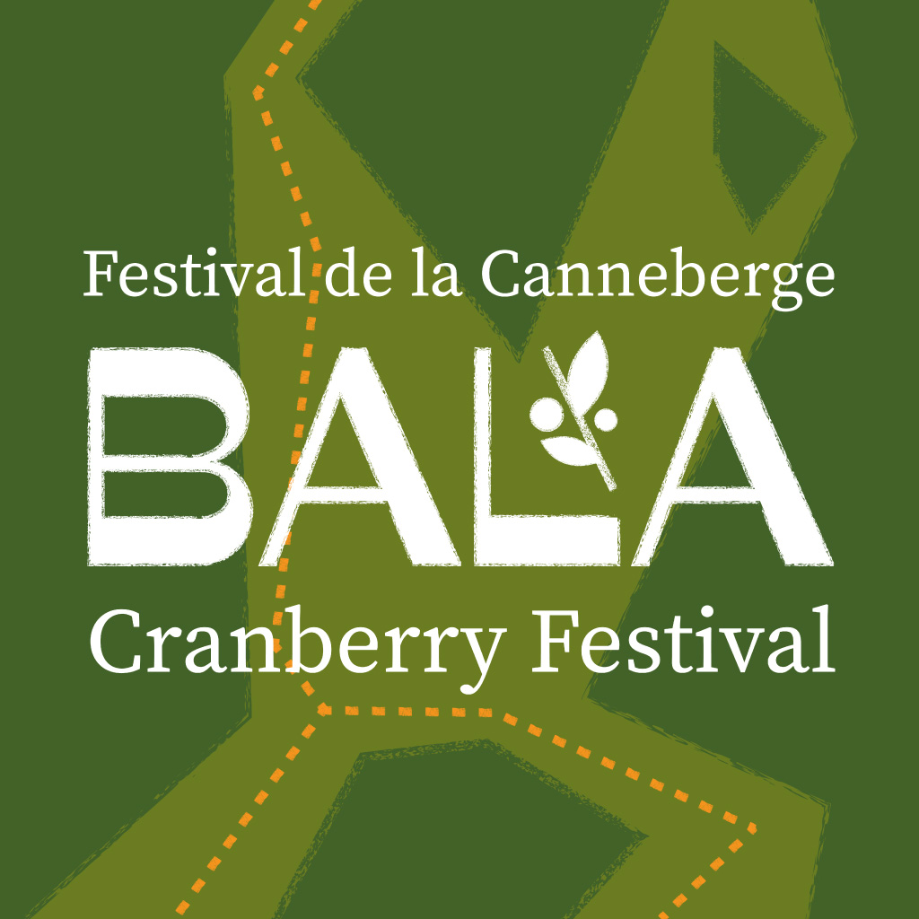 Based on research, the majority of Bala's visitors drive to the festival from larger cities to the south. Therefore, the conceptual and illustration-based approach of the rebrand highlights and emphasizes the journey to Bala through the depiction of an abstracted map. The illustrations comment on Ontario's fall scenery, the nature-oriented activities of cottage country and the main attraction of the festival: cranberries. This conceptual approach aims to intrigue urban visitors to travel the long journey from the GTA, and ultimately bring more tourism to the town of Bala.