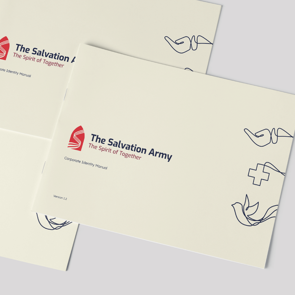 """A significant part of the organization's history was William Booth's efforts in redefining the conventional use of a church to a shelter. This factor had a vital contribution to the rebrand of the organization and their logo. The concept was to adopt the door frame and re-introduce it with the logotype and present a memorable element attached to it being the """"S"""" streaks. The additional element to the logomark also serves as a representation of unity, a strong practice in the organization. The logotype presents a visually welcoming and legible typeface that works with the slogan embracing the devoted attribute of The Salvation Army."""