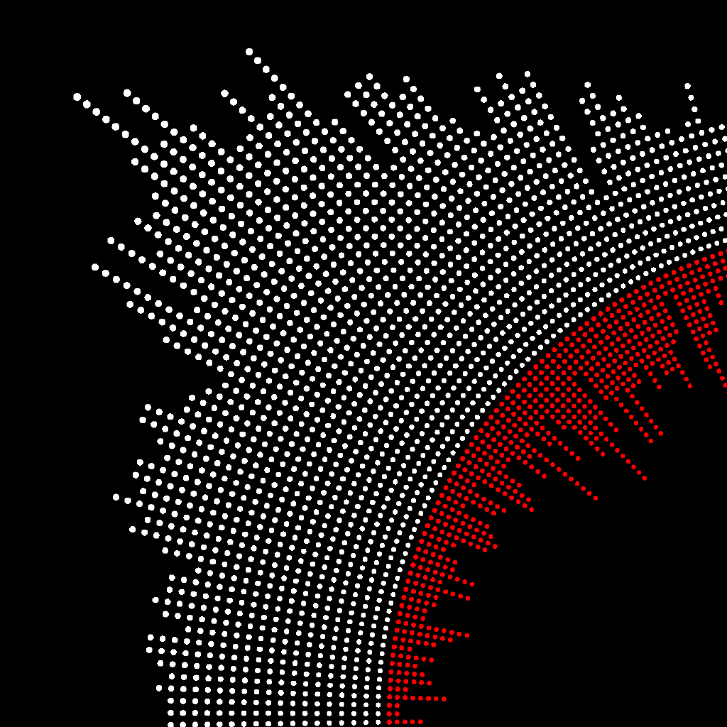 This data visualization plots the daily Covid-19 data on a circle as each white dot represents up to 100 new positive cases, while each red dot represents up to 5 new deaths for each day. This directly compares and contrasts the deaths with the number of positive cases each day for an entire year. The sliders allow the user to isolate data for further inspection of the individual data points. A zoom and pan function allows the user to zoom in on data points to have a deeper understanding of the data and for a more accessible experience. A hover function is implemented to show the distinct separations of months for further clarity and reading of the data set.