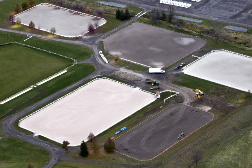 aerial view of equestrian riding rings in wesley clover park