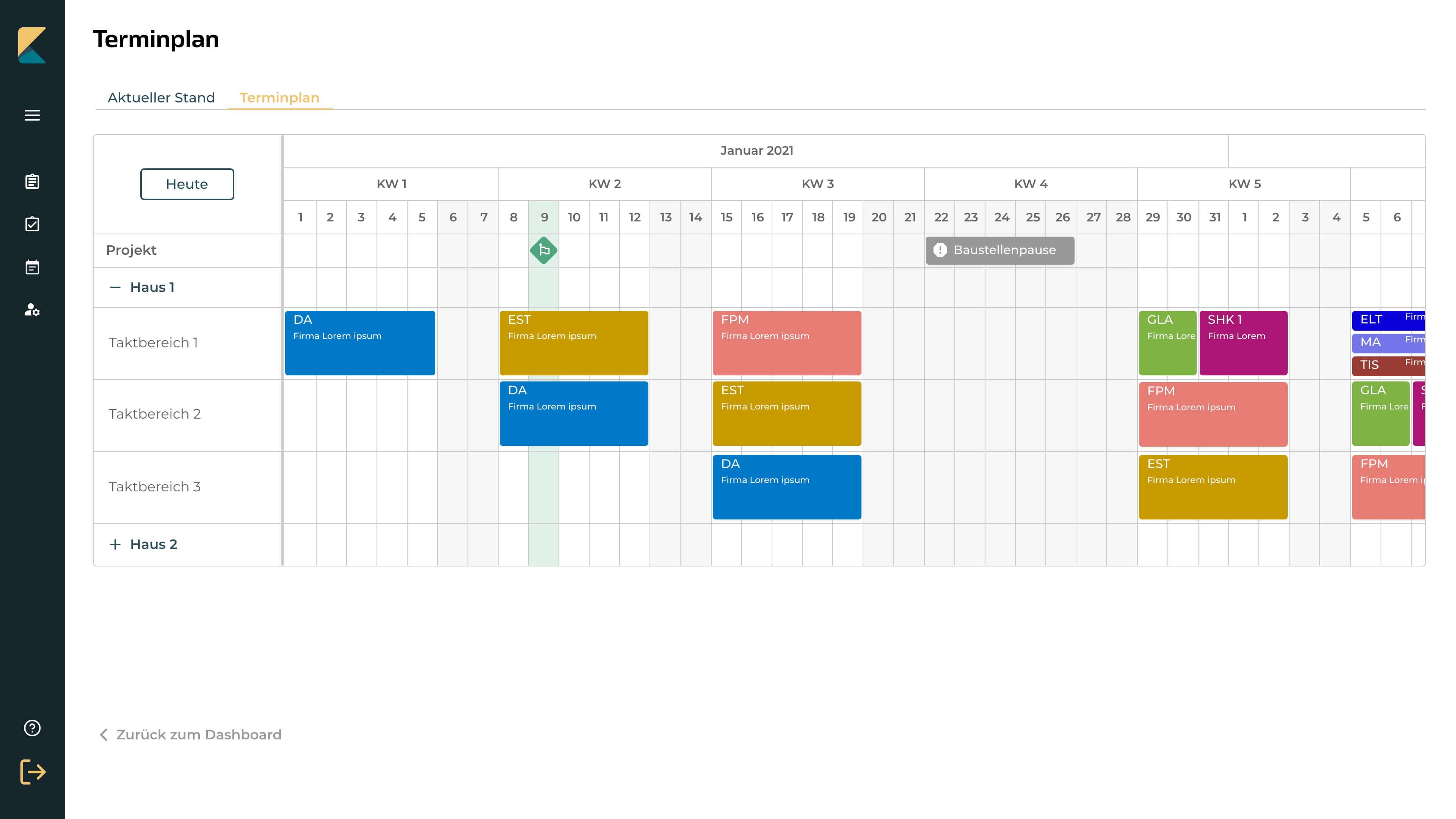Visual Management im Bauzeitenplan