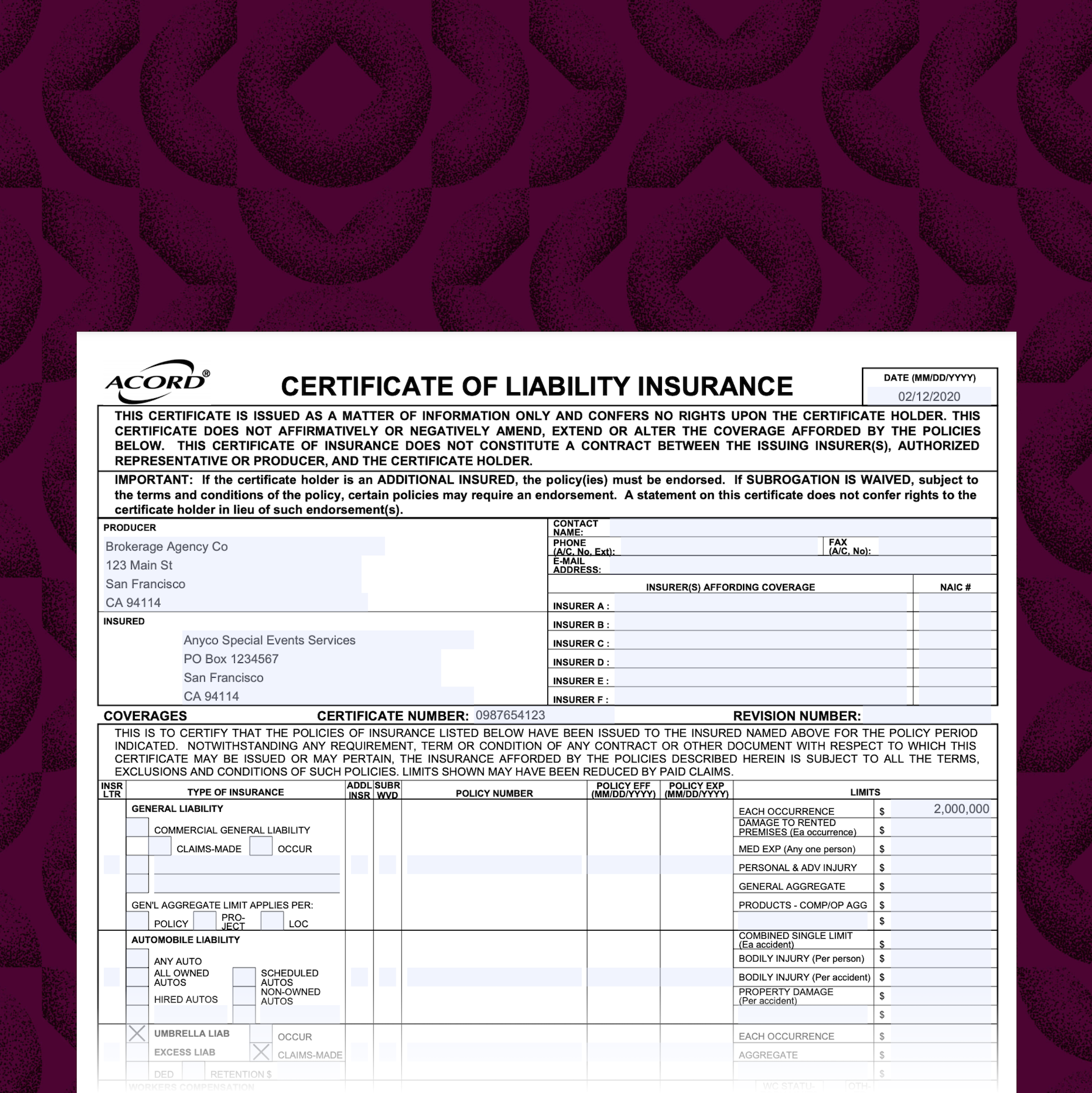 Extracting data from certificates of insurance