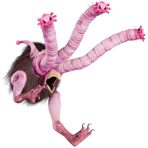 Ostrich-like creature with three long noses instead of heads