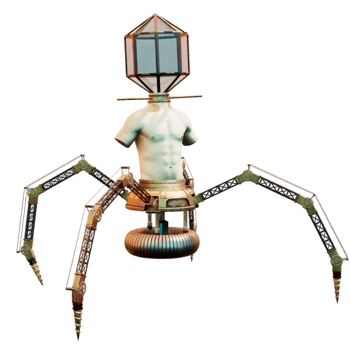 Robotic crab with human torso and a lamp head