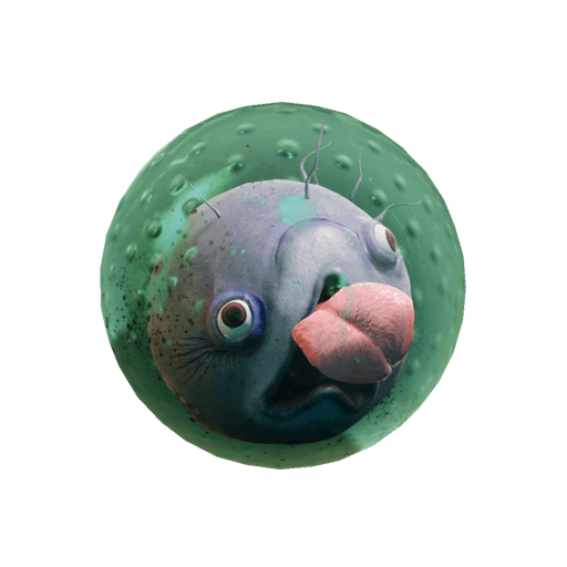 Round blob creature inside a sort of green bubble