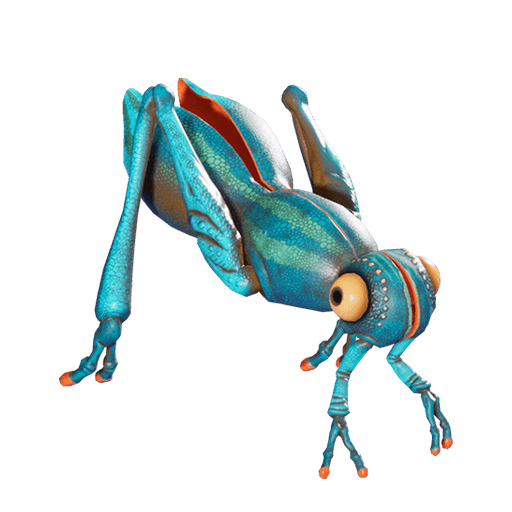 Blue cricket-like creature with arms instead of mandibles