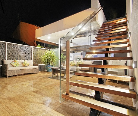 Stylish yet sturdy external stairs in a home