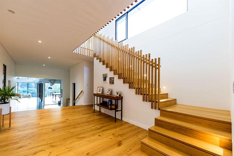 Custom made internal stairs and handrail