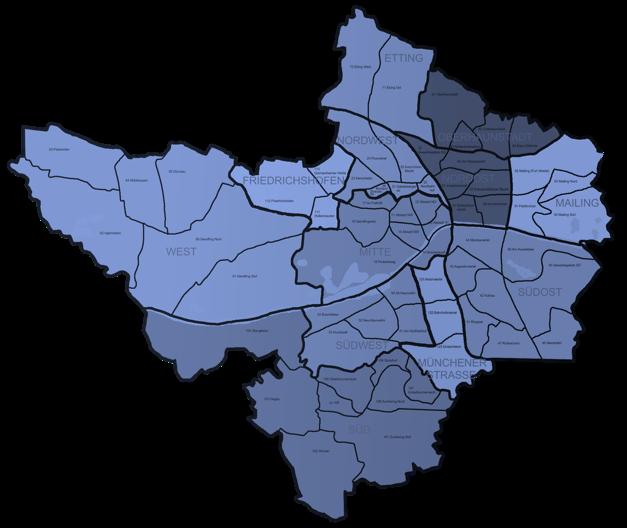 Landkarte der Stadt Ingolstadt und Region