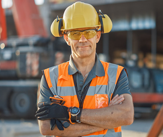 A construction contractor in hard hat