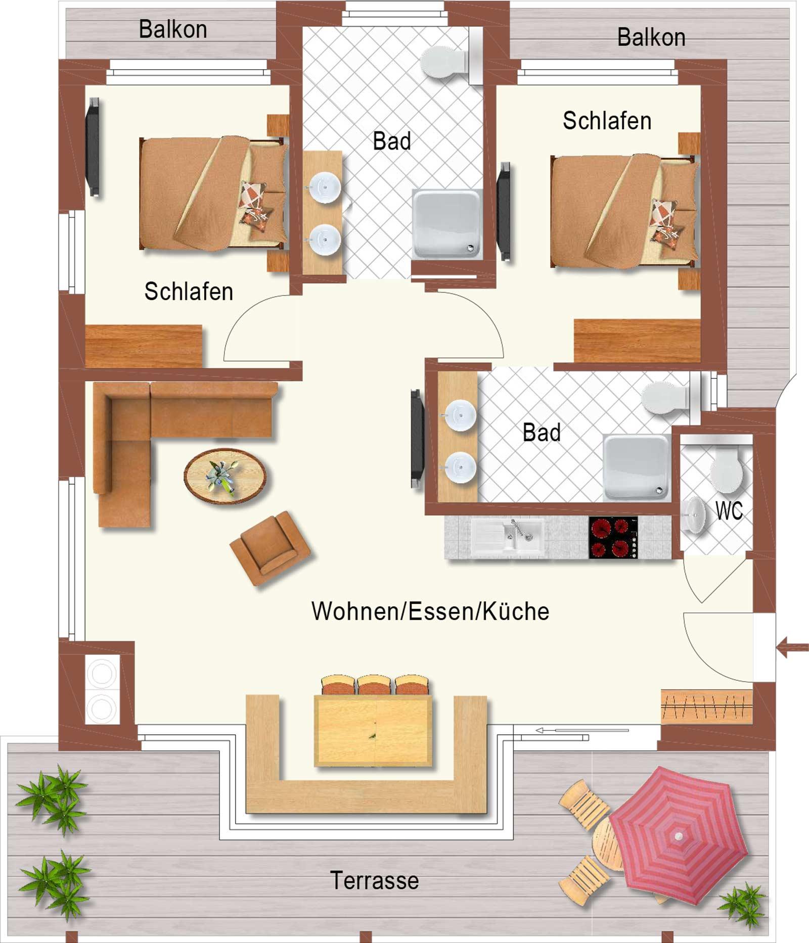 Auermühle Premium-Appartement – Grundriss