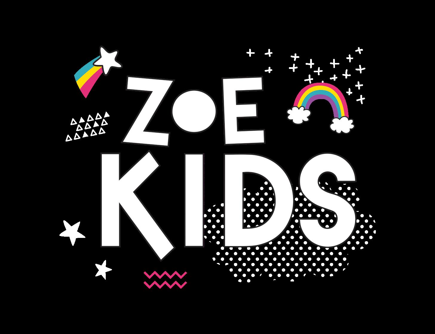 Zoe Kids Logo with Shooting star and rainbow