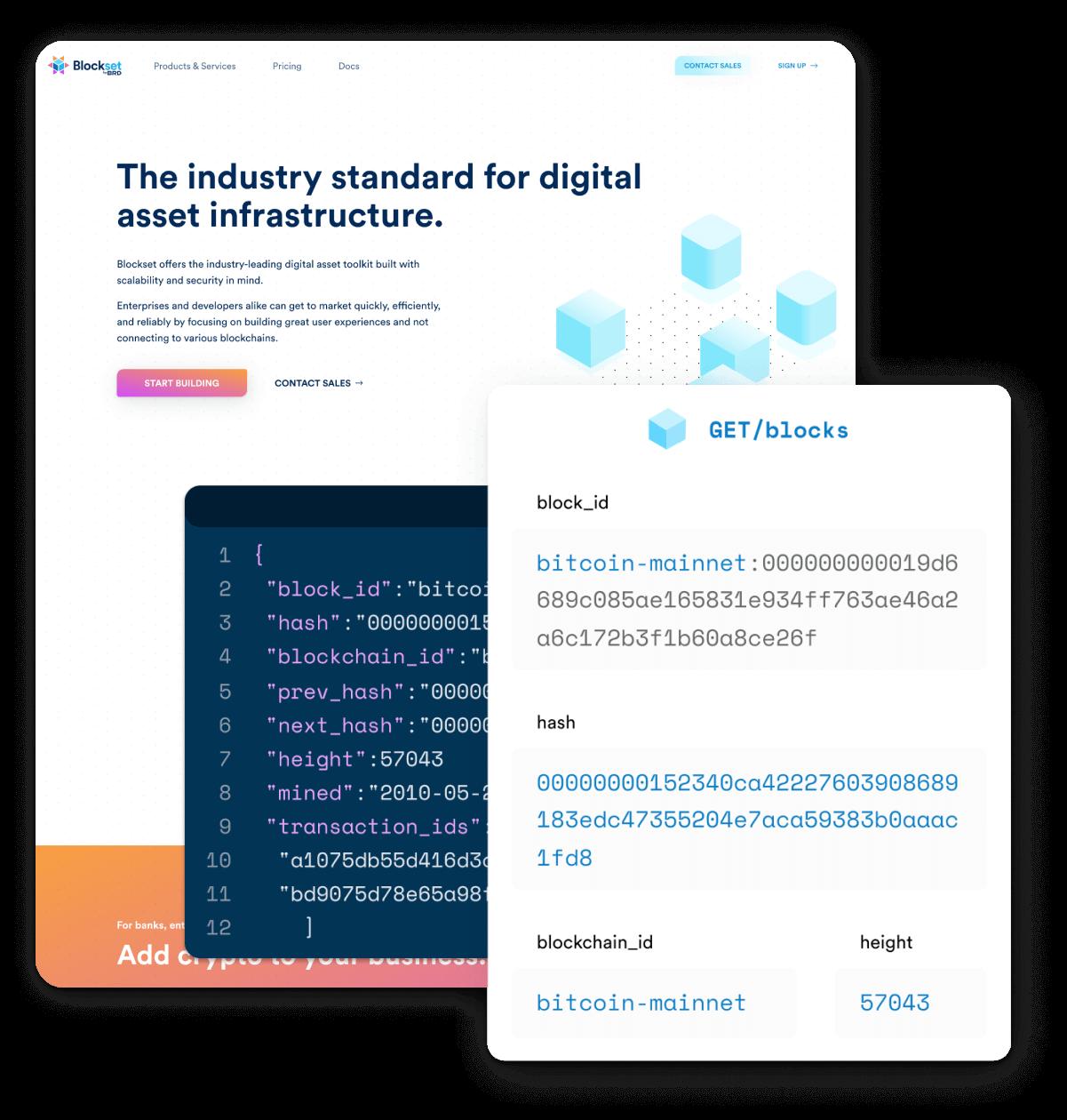 Screenshots of Blockset website and user interfaces