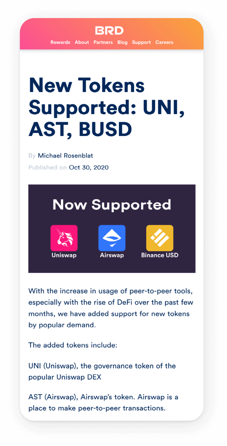"""BRD mobile interface, reads """"New Tokens Supported: UNI, AST, BUSD"""""""