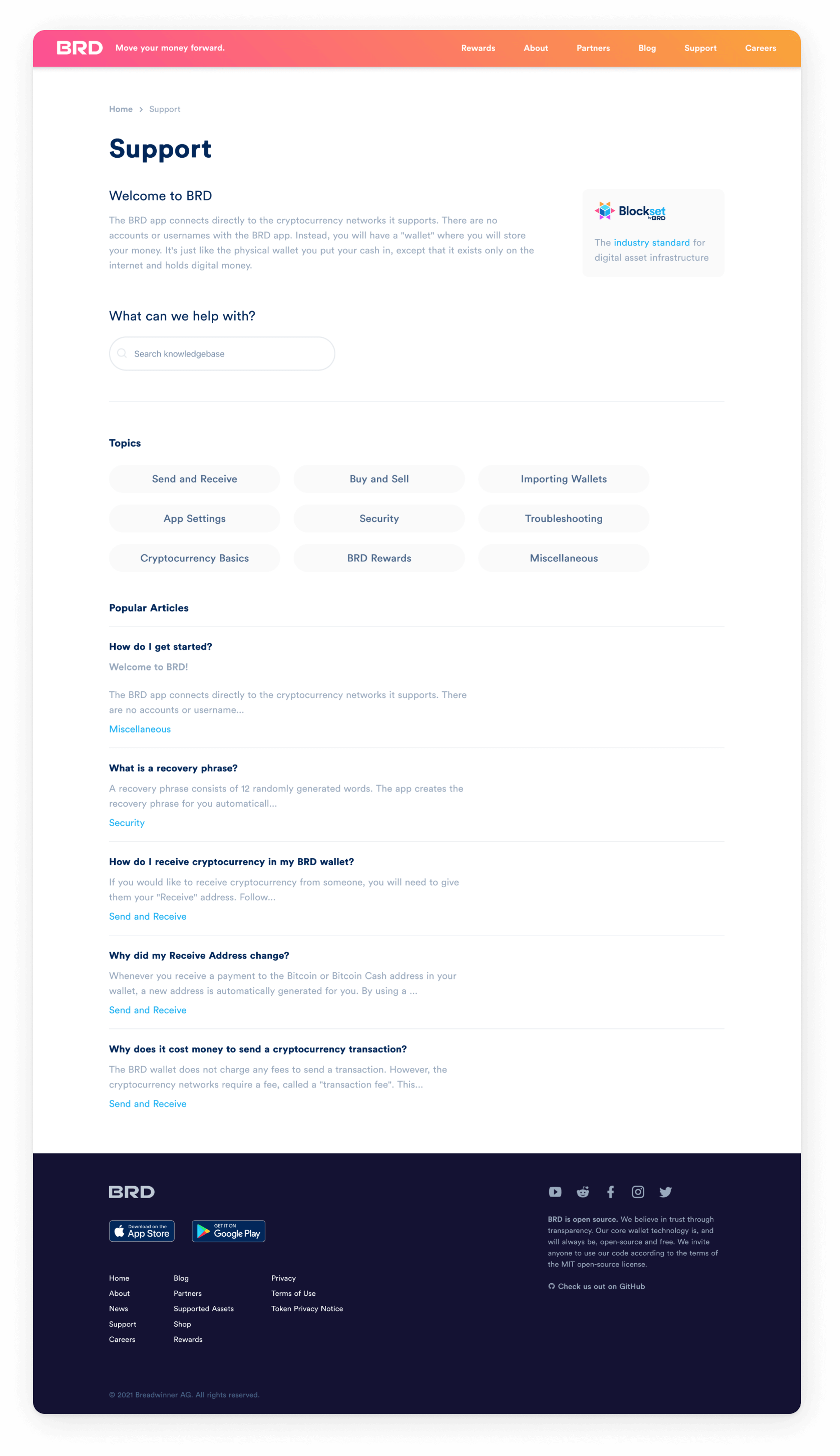 BRD website interface - Support page