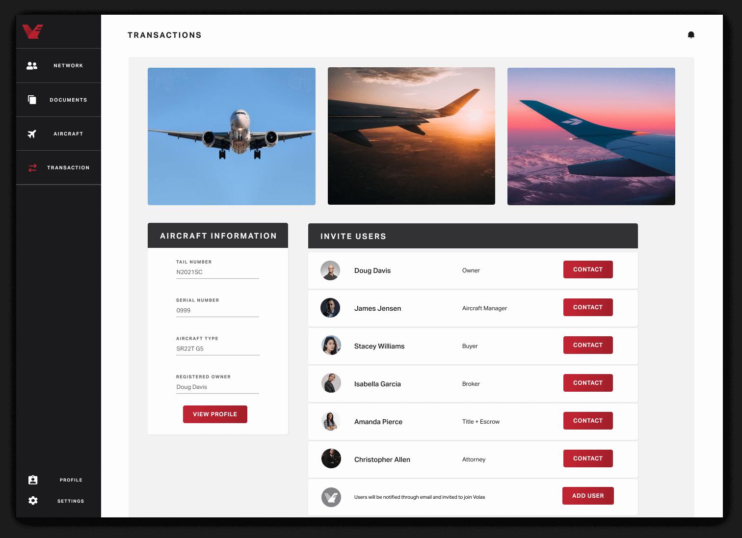 Volas web app user interface