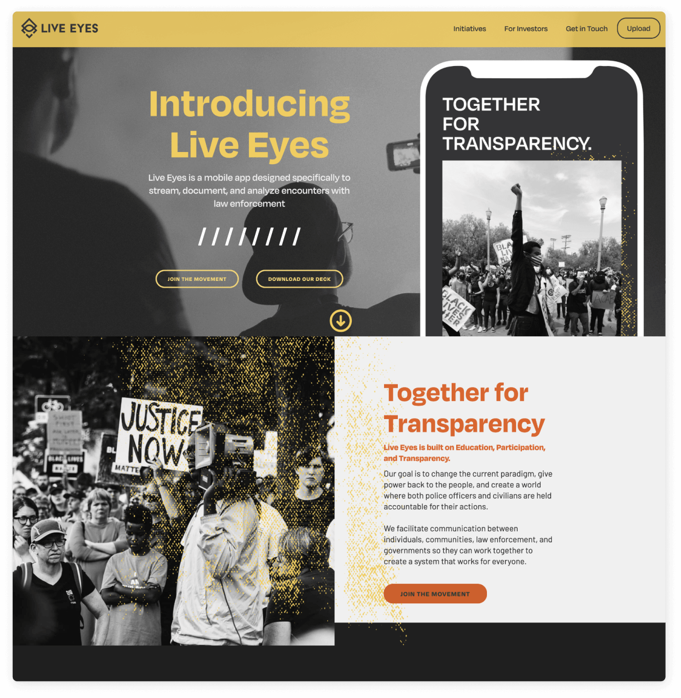 Screenshot of Live Eyes website home page