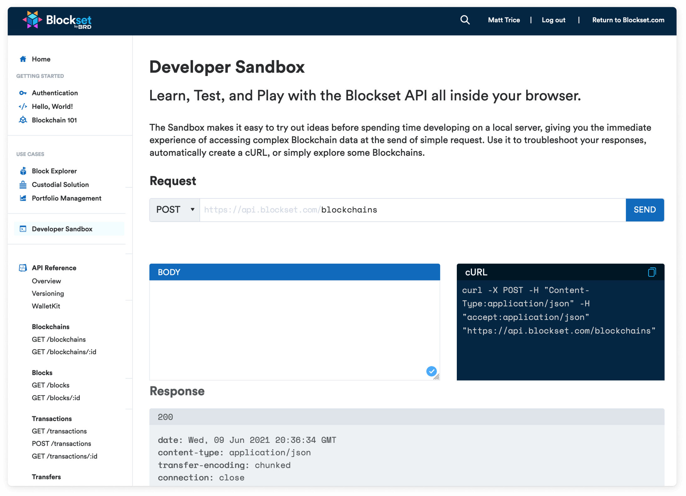 Blockset Developer Sandbox interface