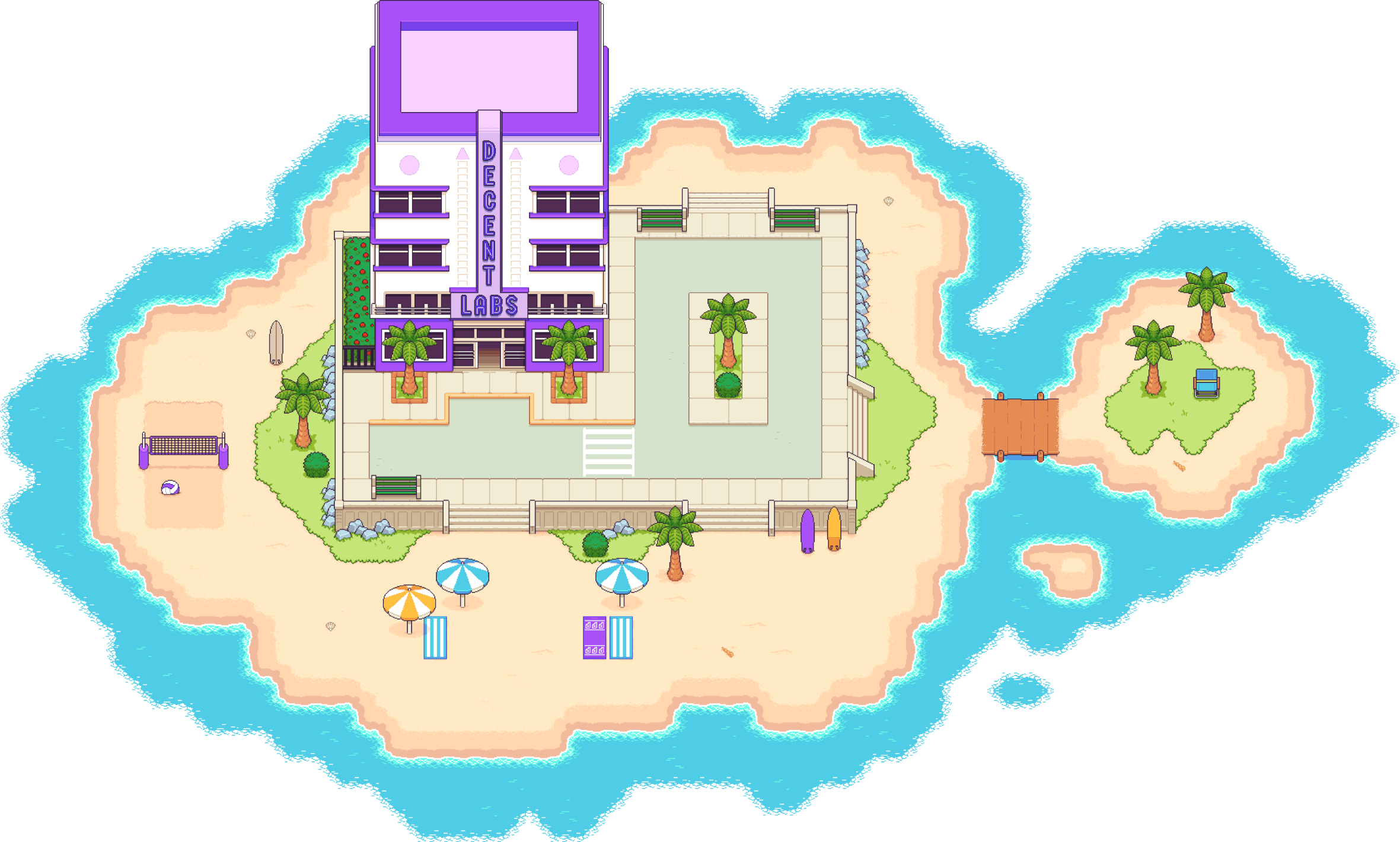 """A pixel art-style illustration of an art deco building on the beach, surrounded by water. The building has a """"Decent Labs"""" sign"""