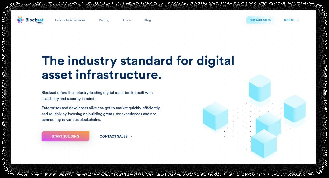 Screenshot of the shiny new Blockset Marketing Site