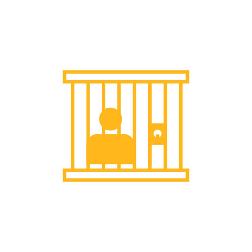 Prisoner behind bars icon