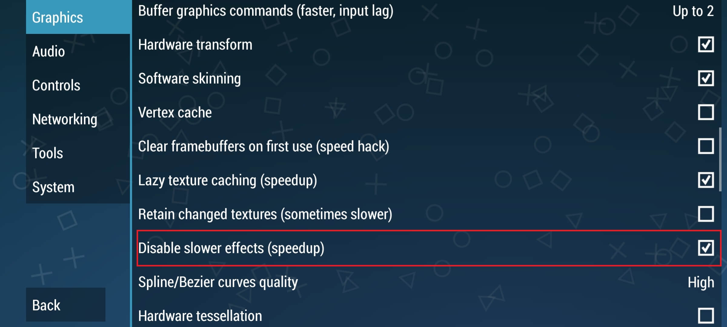 Disable slower effects PPSSPP
