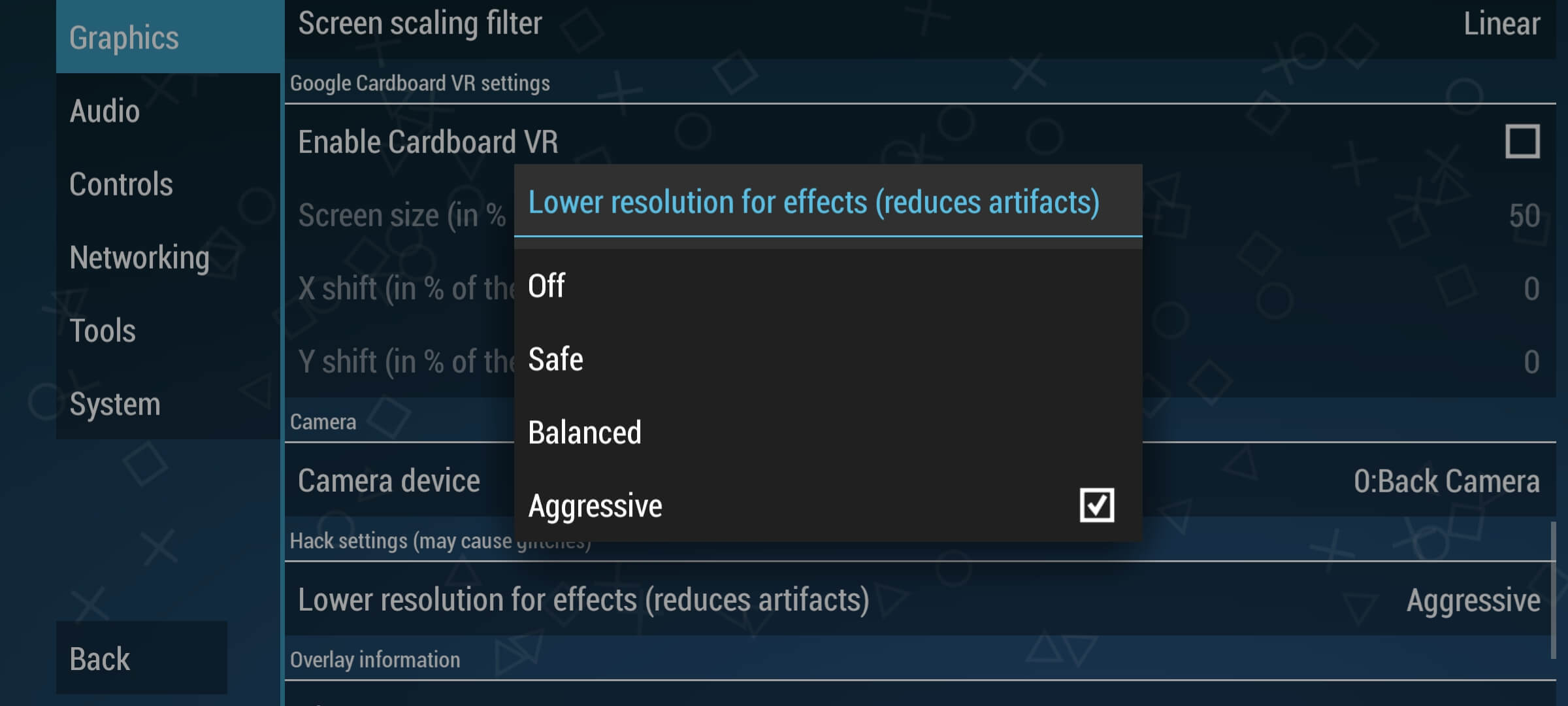 Set lower resolution for effects to aggressive