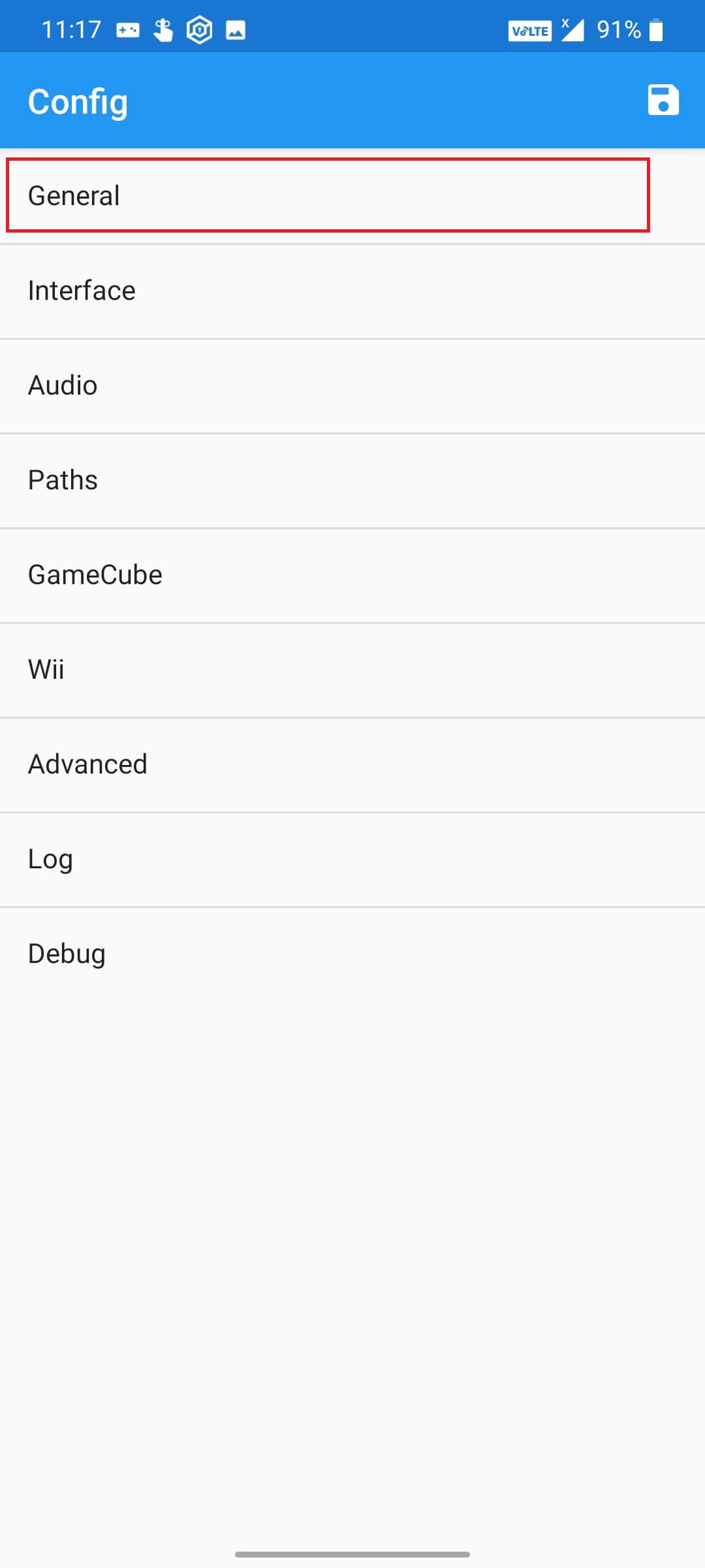 General Settings Page in Dolphin Emulator