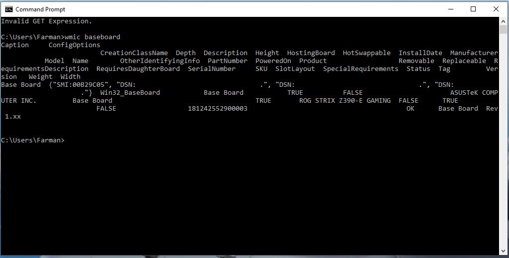 Identifying Dell Motherboard using CMD
