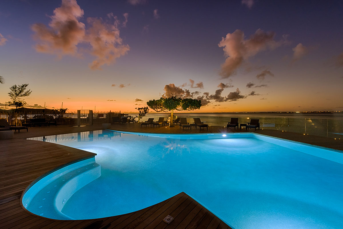 Grand Case Beach Club pool at dusk