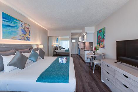 Living Area, Kitchen & Bedroom