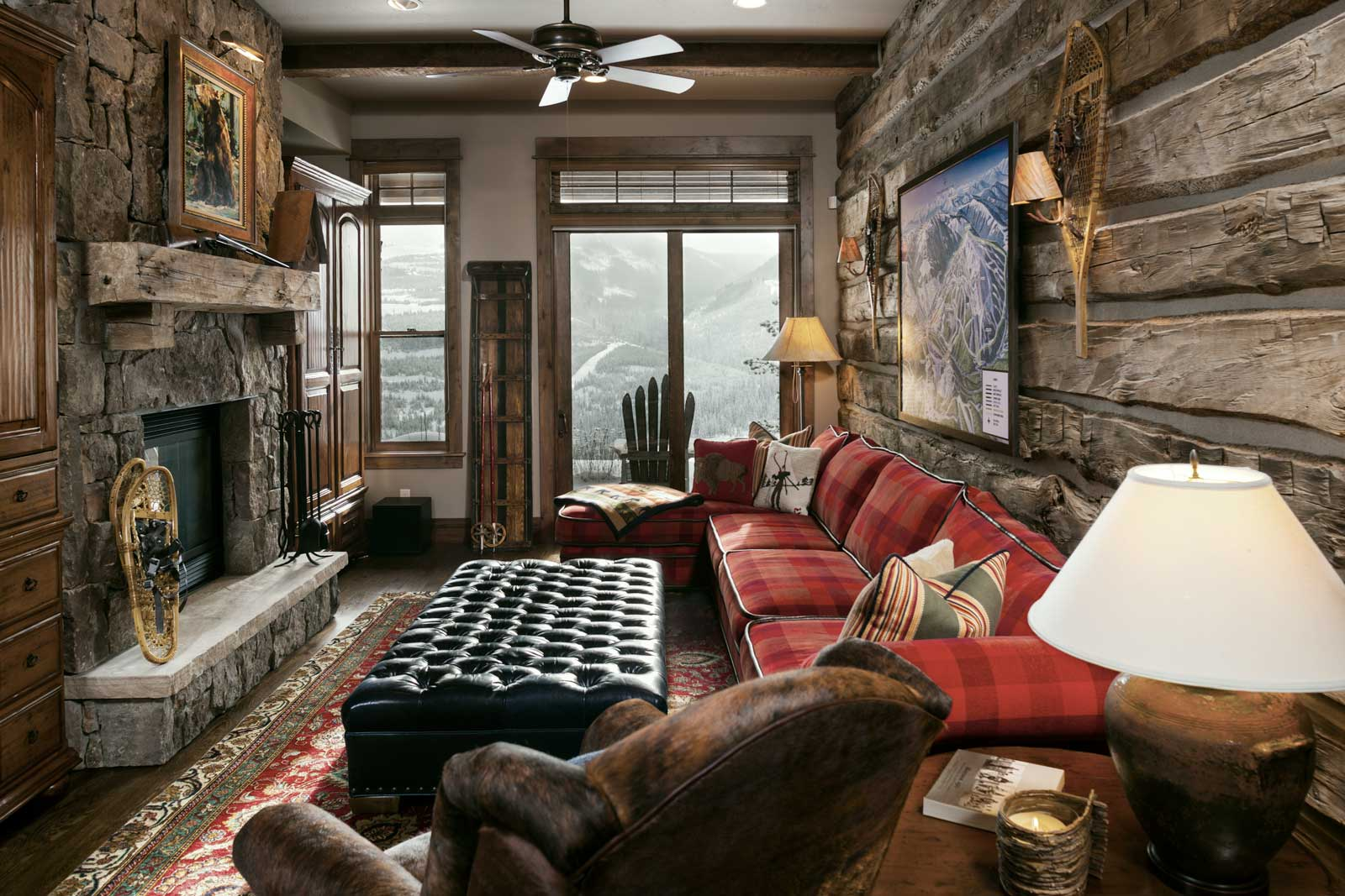 High end living room in the Yellowstone Club estate.