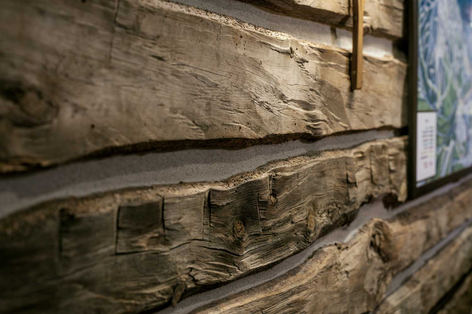 Close up of wooden plank detail in house