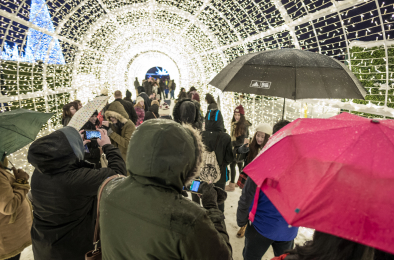 People in light tunnel