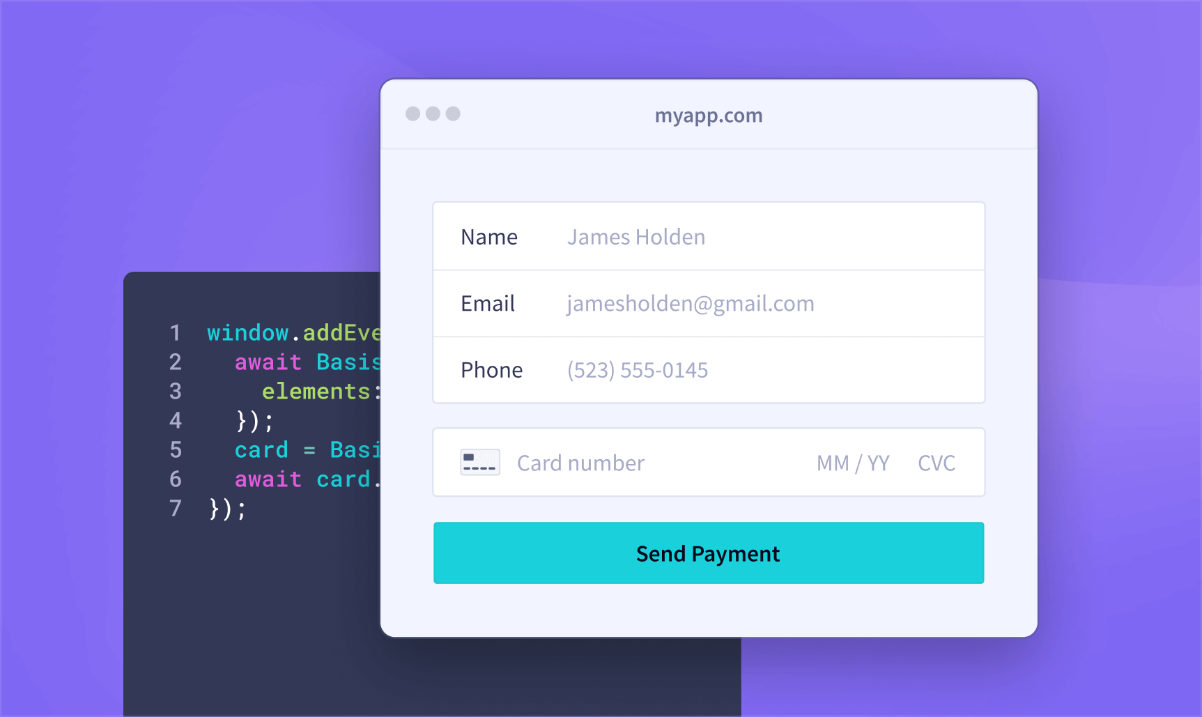 Screenshot of collecting payment and billing details without touching the data yourself