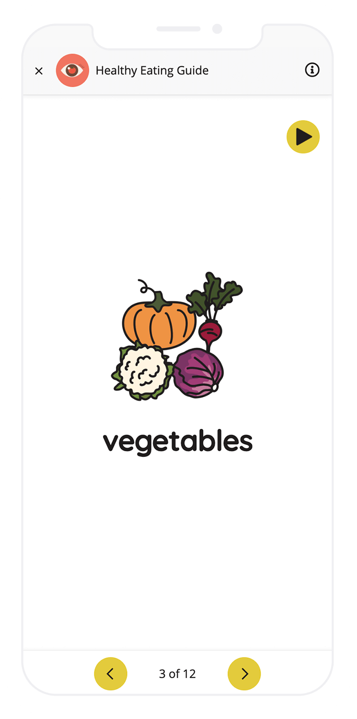 """A screenshot of a Picture Dictionary task, showing an image of a pumpkin, radish, cauliflower, and cabbage, and the word """"vegetables"""" shown below."""