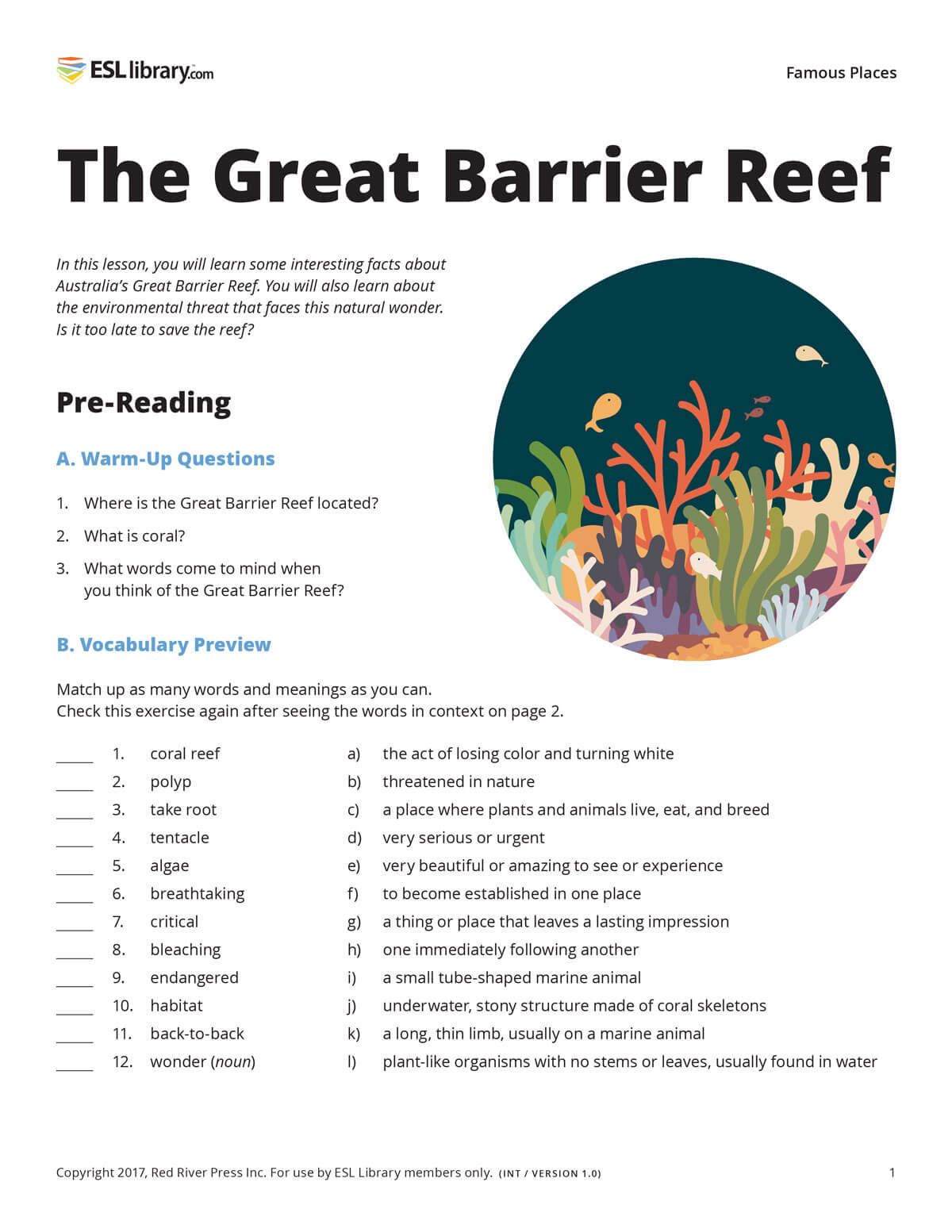 A sample lesson page from the print version of The Great Barrier Reef, showing pre-reading activities such as warm-up questions and a vocabulary preview, as well as an illustration of coral and fish.